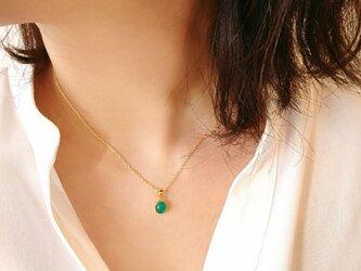 【14kgf】グリーンオニキスの一粒ネックレスの画像
