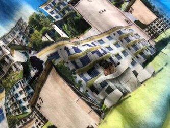 昭和の団地風プリントのダブルガーゼストールの画像