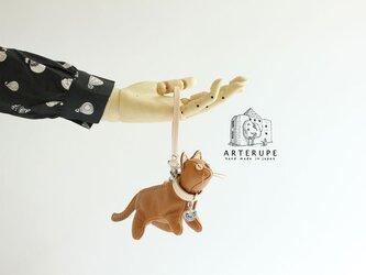 キーポーチ Gattina Baffi(ガッティーナバッフィ)ジンジャー イタリア製シュリンクレザー使用の画像