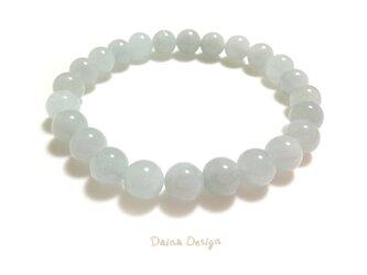 アクアマリン ブレスレット 3月誕生石 天然石 ☆ ダイナ デザイン ☆ 8ミリ ミント ブルーの画像