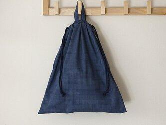 お着替え袋 チェック ブルーの画像