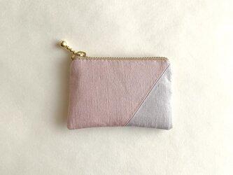 絹ミニポーチ (紬継・ピンクグレー/ライトグレー)の画像