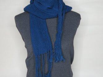 手織り コットンマフラー 藍色の画像