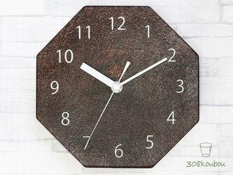 八角掛け時計 マルーンの画像