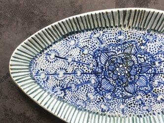 花模様オーバル皿の画像