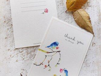 青い小鳥のカードの画像