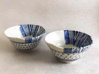 青模様鉢2個セットの画像