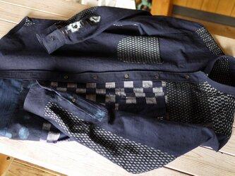 久留米絣パッチメンズシャツの画像
