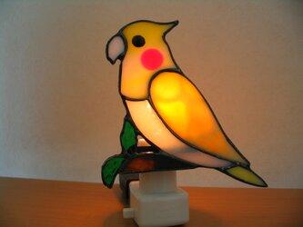 ステンドグラス オカメインコの明取りランプの画像