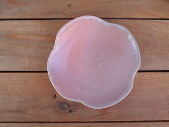 桃色 花皿の画像