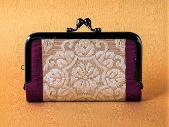名刺入れ 着物リメイク 博多織・赤紫×華の画像