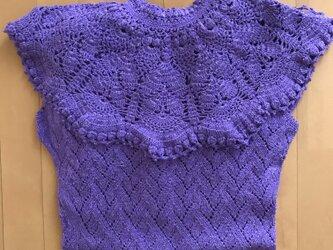かぎ針編みの春色ワンピースの画像