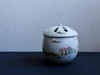 色絵四季山水香炉(香立付)の画像