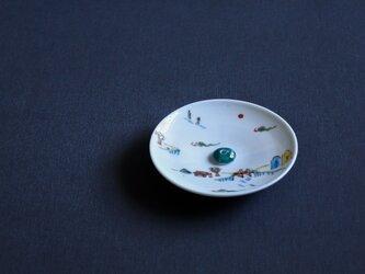色絵山水 香皿(香立付)の画像