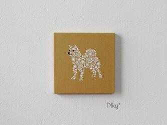 柴犬のファブリックパネル M-705◆からし/白の画像