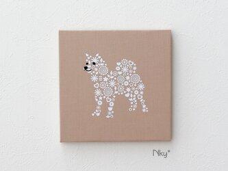 柴犬のファブリックパネル M-705◆ベージュ/白の画像