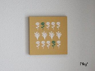 フラワーのファブリックパネル M-803◆からし/白-緑の画像
