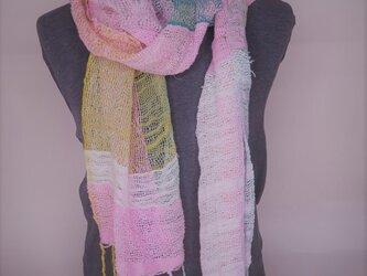 手織り コットンマフラー B0125aの画像