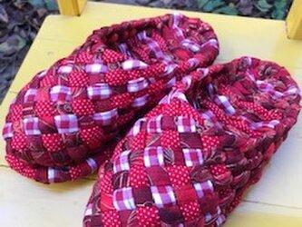 赤プリント・赤チェック・赤水玉柄のヨコスカスリッパ!洗えるスリッパ♪再販です!の画像