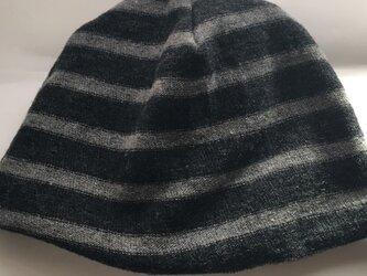 男女兼用リバーブルニット帽子ボーダーウールグレーの画像