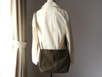 【受注製作】カーキ 浜松産帆布使用ショルダーMの画像