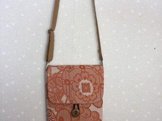 帯リメイク 四角いポシェット ステッチ キルト綿 ショルダー紐 アンティークの画像