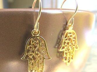 Moroccan hamsa earrings(ハムサピアス)の画像