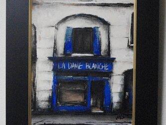 風景画 パリ 油絵 カフェ「街の中古レコード屋」の画像