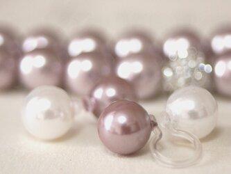 卒業式/入学式*2点セット パール ノンホールピアス ネックレス ピンク イヤリング 卒園式 入園式 ウエディング 結婚式 真珠の画像