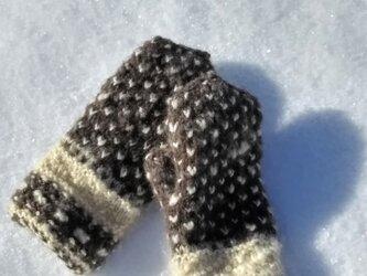 飛騨高山で生まれた極寒に負けないミトン 手紡ぎ糸の裏ループ編みの画像