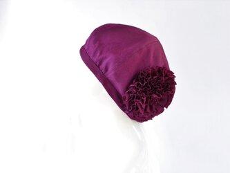 【再販】着物地お花ベレー帽:赤紫色・草花模様地紋 着物リメイク/国内送料無料/1901b01の画像