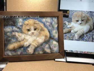 犬や猫の羊毛フェルト絵A5版:オーダーメイドの画像