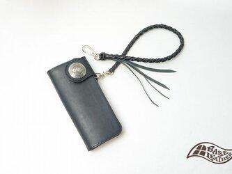 38ミリベースレザーコンチョ ロープ付バッファロー長財布 メンズ 【日本製】の画像