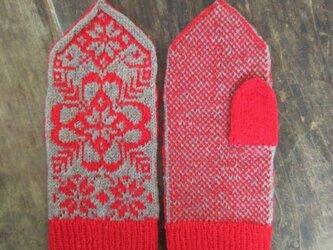 a1d4946dfd429c シェットランドウール100%*手編みのミトン*ロシアのお花柄*ニット*手編み*レッド&ベージュ
