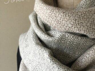 手織りカシミヤショール クラッシックホワイトの画像