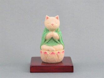 木彫り 袈裟を着た合掌猫 猫仏1904の画像