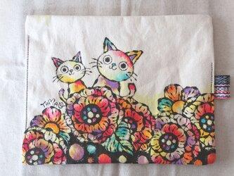 帆布 手描きのおやつマット(花柄×猫) 09の画像