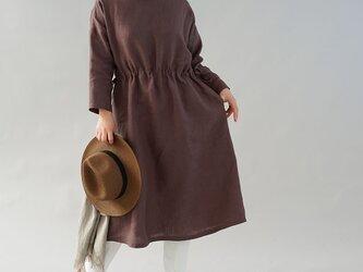 【wafu】中厚 リネンワンピース ブラウジング ドロップショルダー 長袖 ドレス / 小豆色 a012b-azk2の画像
