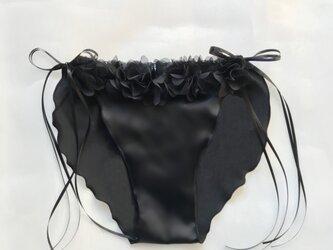 お花 シルク ショーツ 黒 Elegant princess ふんどしパンツ (M size)の画像
