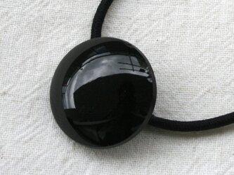フランスアンティークボタンへアゴム/つるつるジェットボタン(AFB-090)の画像