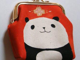 パンダがま口 角型 オレンジ色の画像