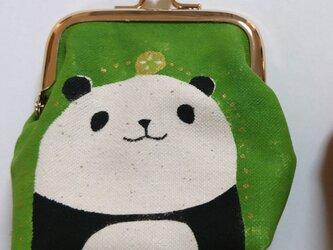 パンダがま口 角型 みどり色の画像