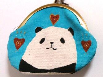 パンダがま口 丸型 水色の画像