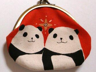 パンダがま口 丸型 オレンジ色の画像