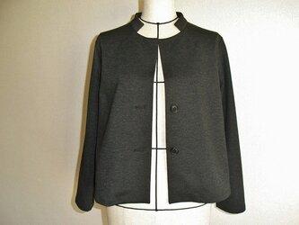 綿ニットのジャケット(チャコールグレー)の画像