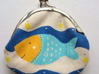 おさかな がま口 丸型 水色の画像