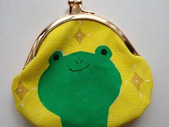 カエル がま口 丸型 黄色の画像