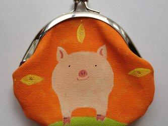 ブタ がま口 丸型 オレンジ色の画像