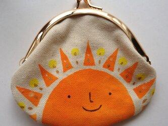 おひさま がま口 丸型 オレンジ色の画像