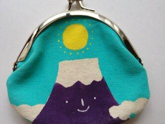 富士山 がま口 丸型 水色の画像